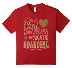 Kids Skateboarding Shirt Tshirt Gift Tee Skateboarder Girl 4 Cranberry