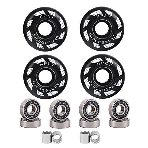 NPET 52mm Blank Skateboard Wheels/ ABEC-11 Speed Bearings& Spacers (Black)