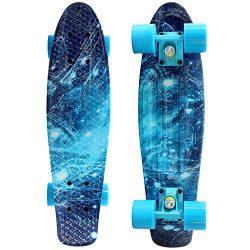 Penny Board Skateboard, Complete 22″ Deck Premium Durable Plastic, Longboard Arcs, Vibrant ...