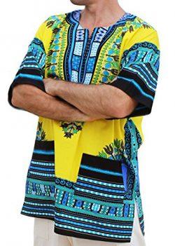 RaanPahMuang Unisex African Bright Dashiki Cotton Shirt Variety Colors, XX-Large, Bright Yellow