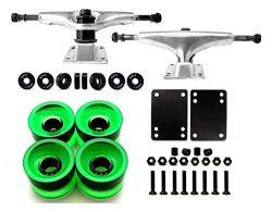 Skateboard Truck and Wheel, 5.0 Skateboard Trucks (Silver) w/Skateboard Crusier Wheel 60mm, Skat ...