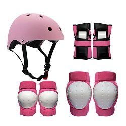 BPX Kids Youth Adults Adjustable Comfortable Helmet with Sports Protective Gear Set Knee/Elbow/W ...