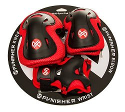 Punisher Skateboards Boys Elbow, Knee, and Wrist Pad Set for Skateboarding or BMX, Youth Ages 8+ ...