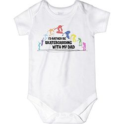 CarefreeTees I'd Rather Be Skateboarding With My Dad (Baby Bodysuit 3M MultiColor Design)