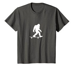 Kids Bigfoot Skateboarding Shirt Funny Cool Sasquatch Skater Gift 12 Asphalt