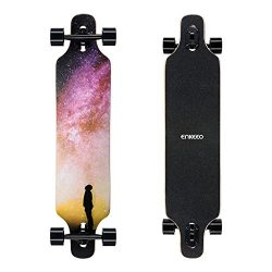 ENKEEO 40 Inch Drop-Through Longboard Skateboard Complete for Carving Downhill Cruising Freestyl ...