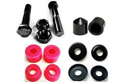 Complete Set of Replacement Skateboard Kingpins, Bushings, Washers & Pivot Cups Kit (Pink)