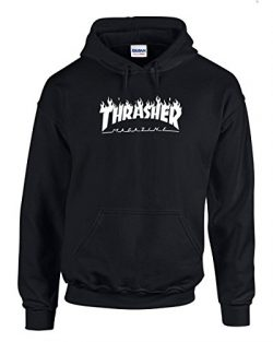 Karma t shirts Thrasher Magazine | Skateboarding | White Design | Mens Black Hooded Sweatshirt Large
