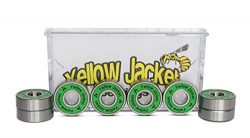Yellow Jacket Premium Skateboard Bearings, Pro Longboard Bearings, 608, ABEC 9, Jungle Green (Pa ...