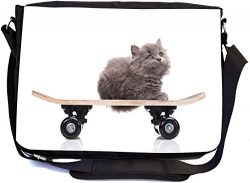 Rikki Knight Gray Kitten on Skateboard Design Multifunction Messenger Bag – School Bag  ...
