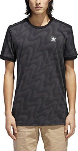 adidas Originals Men's Skateboarding All Over Warp Print Tee, Black/Dark Solid Grey, M