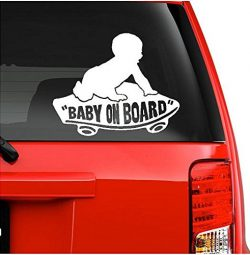 On Board Baby Boy on Skateboard Decal Sticker (5.5″ inches (White)