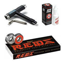 Bones Reds Precision Skate Bearings (8 Pack w/Spacers & Washers & Speed Cream) (Reds + S ...