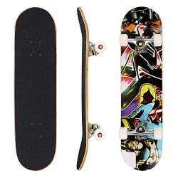 dongchuan 31″ Complete Skateboard Double Kick Wood PRO Skate Board | Birthday Present for  ...