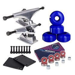 Cal 7 5.0 Inch Skateboard Trucks, 52mm Wheels, Plus Bearings Combo Set (Silver truck with blue w ...