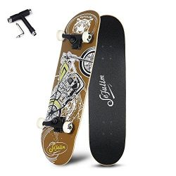 Sefulim 31″x8″ Pro Complete Skateboard Motorcycle Skateboard with Skate Tool Set for ...