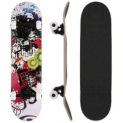 WeSkate 31″ Skateboard 9 Layer Maple Complete Trucks Skate Board with 4 Spare Wheels Carry ...
