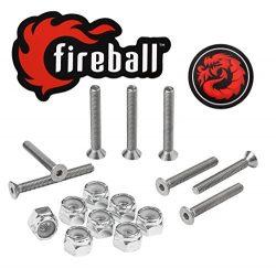 Fireball Dragon Stainless Steel Skateboard Hardware Set (Flat Allen, 1.5″)
