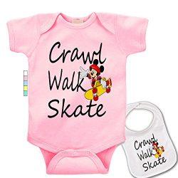 babybytes Crawl Walk Skate – Sports Skateboarding Custom Baby Bodysuit Onesie & Bib