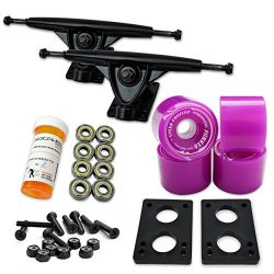 YOCAHER LONGBOARD Skateboard TRUCKS COMBO set w/ 71mm WHEELS + 9.675″ Polished / Black tru ...
