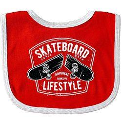 Inktastic – Skateboard Lifestyle Baby Bib Red/White