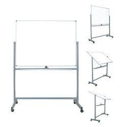 Mobile Dry Erase Magnetic Whiteboard – 47″ X 36″ – Double Sided with Rol ...
