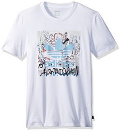 adidas Originals Men's Skateboarding Gonz Blackbird Tee, White/Clear Blue, 2XL