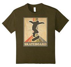 Kids Vintage and Retro Skateboarding Shirt Skateboard Tee 12 Olive