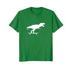 Mens Dinosaur Skateboarding Shirt Funny Cool Skater Gift Medium Kelly Green