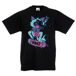 lepni.me Kids Boys/Girls T-Shirt Skater Fox -Streetwear, Urban Clothing, Skateboarding Clothes,  ...