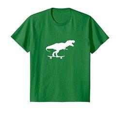 Kids Dinosaur Skateboarding Shirt Funny Cool Skater Gift 8 Kelly Green