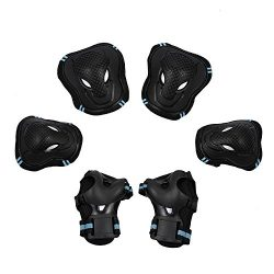 Skateboarding Protective Gear, Kids Rollerblades Elbow Knee Pads with Wrist Guards for Inline &a ...
