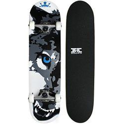 Krown Wolf Skateboard, White, 7.5″