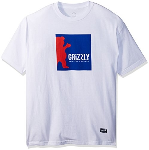Grizzly Griptape Men's Boxed Out Short Sleeve Tee, White, Medium