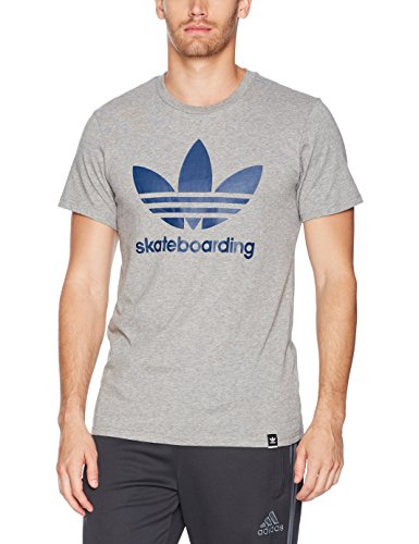 adidas Originals Men's Tops Skateboarding Clima Tee, Black Heather/Mystery Blue, X-Small