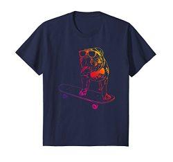 Kids Skateboard English Bulldog T Shirt skateboarding dog neon 12 Navy