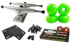Owlsome 5.25 Polished Aluminum Skateboard Trucks w/52mm Wheels Combo Set (Green)
