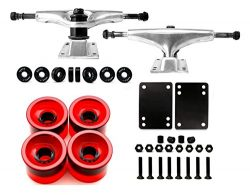 Skateboard Truck and Wheel, 5.0 Skateboard Trucks (Silver) w/Skateboard Crusier Wheel 60mm, Skat ...