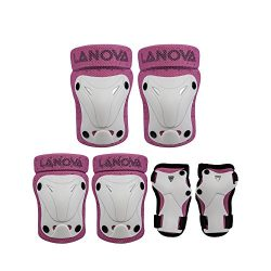 LANOVAGEAR Kids Adjustable Protective Gear Knee Elbow Pads Wrist Guard for Multi Sports Safety P ...