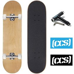 CCS Logo and Natural Wood Skateboard Completes – Fully Assembled (Blank Natural Wood, 8.0)