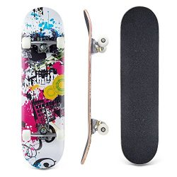 Lelly Q Complete Skateboard – 31″ x 8″ Inches,7 Layer Maple Wood Tricks Skate  ...