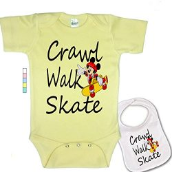 babybytes Crawl Walk Skate – Sports Skateboarding Custom Baby Bodysuit Onesie & Bib