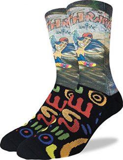 Good Luck Sock Men's Skateboarder Crew Socks – Black, Adult Shoe Size 8-13
