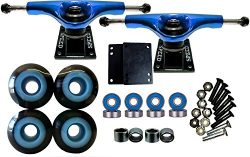 esKape 5″ Truck/52mm Wheels Complete Skateboard Parts Set (Black w/ Blue, 52mm)
