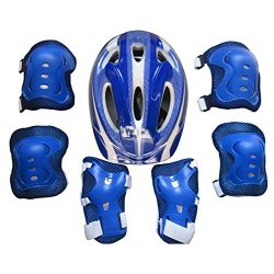 PeleusTech® 7Pcs Protective Gear for Kids Helmet Elbow Pads Knee Pads with Wrist Guard for Cycli ...