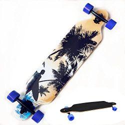 Leoneva 42-Inch Wooden Longboard Dancing Skateboard with PU Wheel for Kids Adults(US Stock) (Beach)