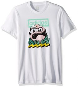 adidas Originals Men's Skateboarding Wading Tee, White/Easy Green/Black/Tech Forest, XS