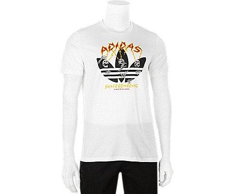 adidas Originals Men's Skateboarding Yaia Shock Tee, White/Black/Collegiate Orange/Bold Go ...