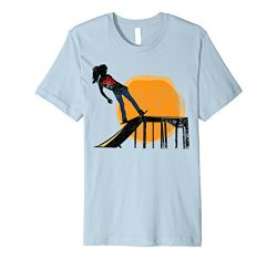 Sunset Skateboard Girl Ramp Premium Distressed T-Shirt