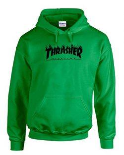 Thrasher Magazine | Skateboarding | Black Design | Mens Green Hooded Sweatshirt Large